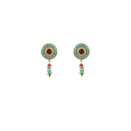 Boucles d'oreilles à clips chic cristal | turquoise