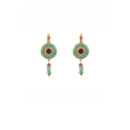 Chic sleeper earrings with crystal|turquoise