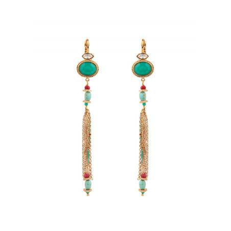 Boucles d'oreilles dormeuses tendance cristal | turquoise