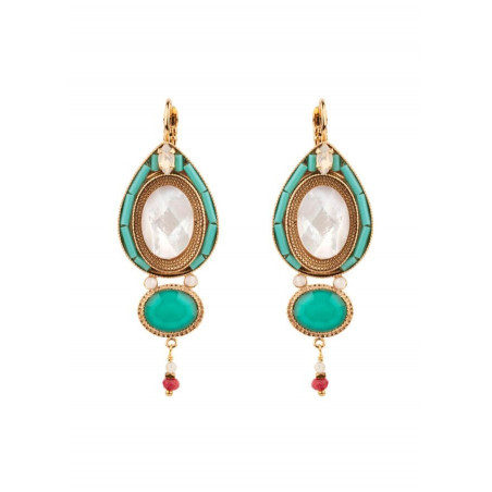 Sophisticated mother-of-pearl sleeper earrings|turquoise