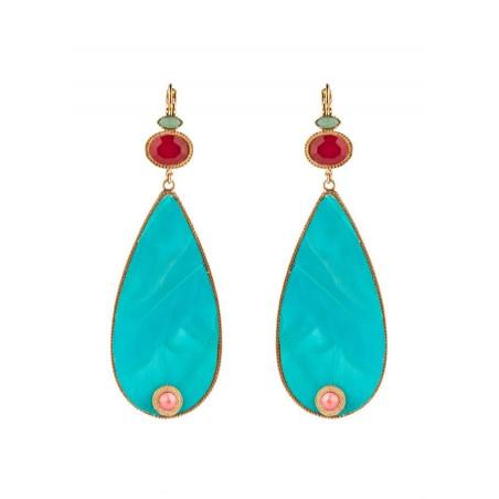 Ethnic feather sleeper earrings|turquoise