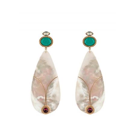 Boucles d'oreilles percées ethniques cristal | nacré