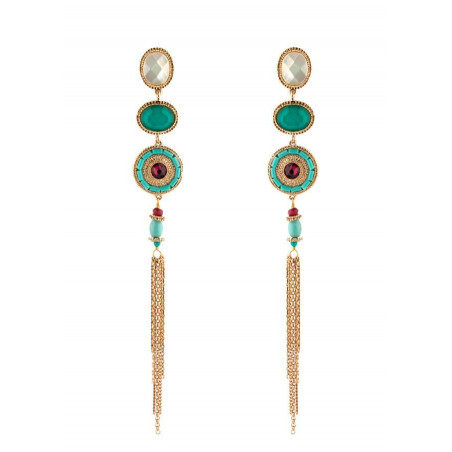 On-trend faceted mother-of-pearl pierced ear earrings|turquoise