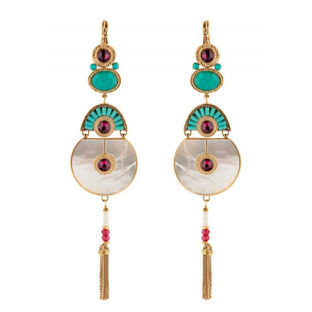 Ethnic sleeper earrings with crystal mother-of-pearl