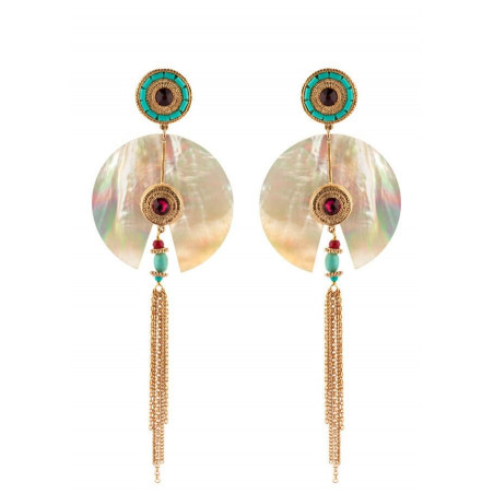 Boucles d'oreilles à clips originales cristal   nacré