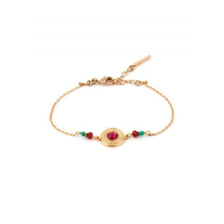 Elegant gold metal crystal bracelet | Pink