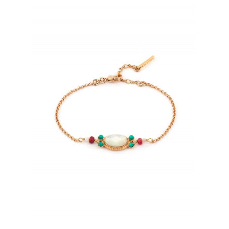 Glamour gold metal jade and turquoise bracelet| mother-of-pearl