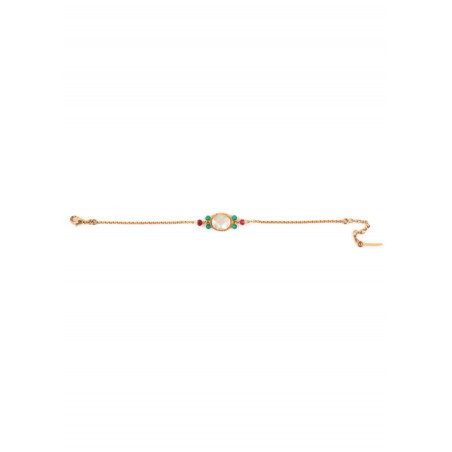 Glamour gold metal jade and turquoise bracelet| mother-of-pearl67602