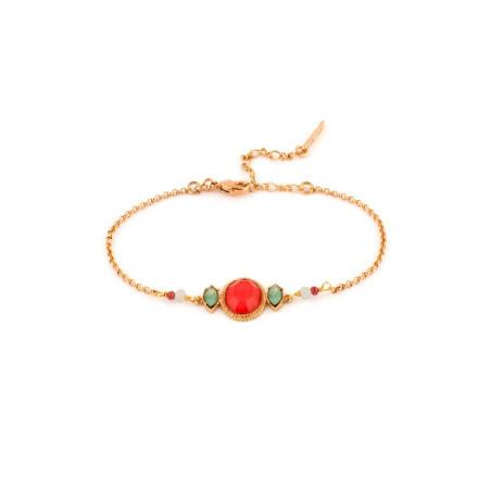 Feminine gold metal garnet and amazonite bracelet  pink