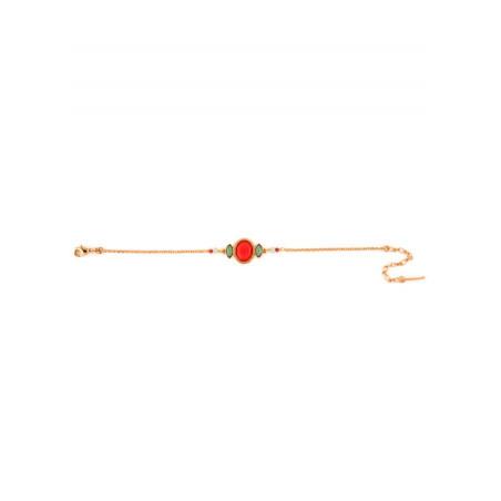 Feminine gold metal garnet and amazonite bracelet  pink67617