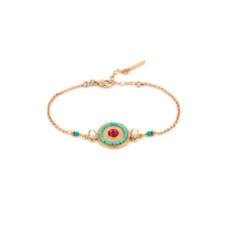 Bracelet bohème métal doré et cristal   turquoise