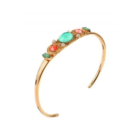 Bracelet jonc glamour métal doré et cristaux | turquoise