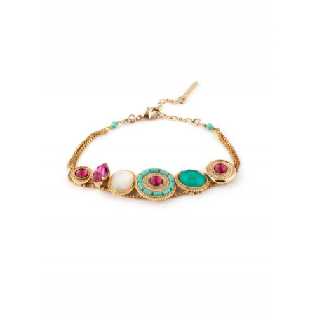 On-trend gold metal crystal bracelet | turquoise