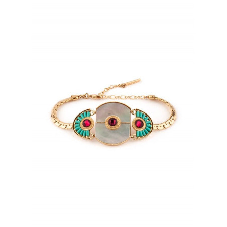 Ethnic gold metal crystal bracelet | mother-of-pearl