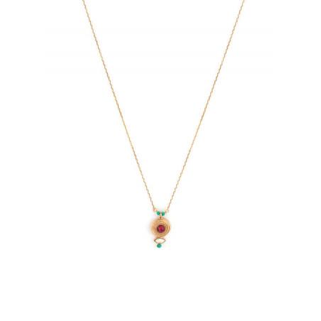 Collier pendentif glamour métal doré et cristal | rouge