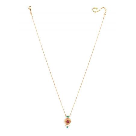 Collier pendentif glamour métal doré et cristal | rouge67690
