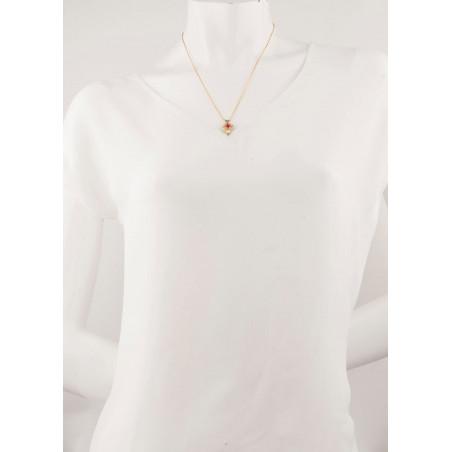 Collier pendentif glamour métal doré et cristal | rouge67691