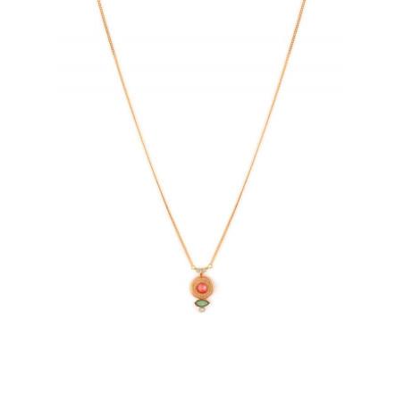 Collier pendentif glamour métal doré et cristal | rose