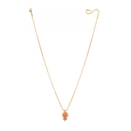 Collier pendentif glamour métal doré et cristal | rose67696