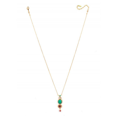 Collier pendentif tendance métal doré cristal | rouge67702