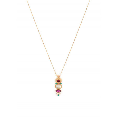 Fashionable gold metal and mother-of-pearl pendant necklace|red