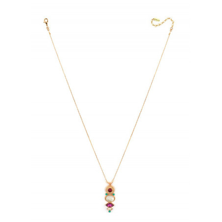 Fashionable gold metal and mother-of-pearl pendant necklace|red67726