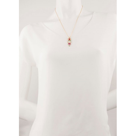 Fashionable gold metal and mother-of-pearl pendant necklace|red67727