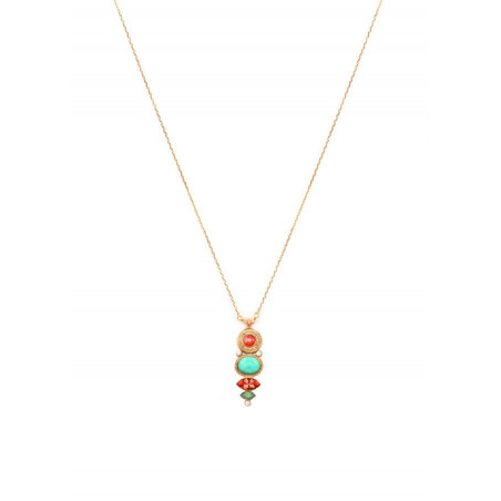Fashionable gold metal crystal and amazonite pendant necklace| turquoise