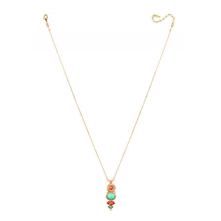 Fashionable gold metal crystal and amazonite pendant necklace| turquoise67732