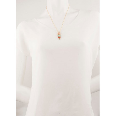 Fashionable gold metal crystal and amazonite pendant necklace| turquoise67733