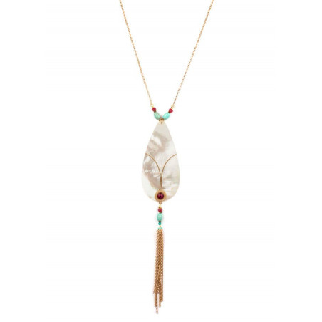 On-trend gold metal crystal and mother-of-pearl necklace   mother-of-pearl