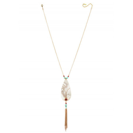On-trend gold metal crystal and mother-of-pearl necklace   mother-of-pearl67762