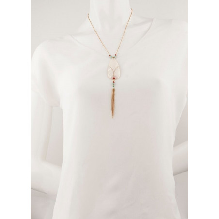 On-trend gold metal crystal and mother-of-pearl necklace   mother-of-pearl67763