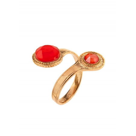 Chic gold metal crystal you and me ring|pink