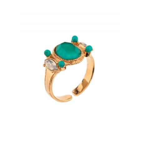 Bague mode métal doré cristal et turquoise | turquoise