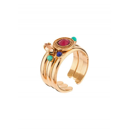 Sophisticated gold-plated metal, mother-of-pearl and turquoise set of rings|red