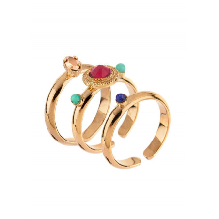 Sophisticated gold-plated metal, mother-of-pearl and turquoise set of rings|red67795