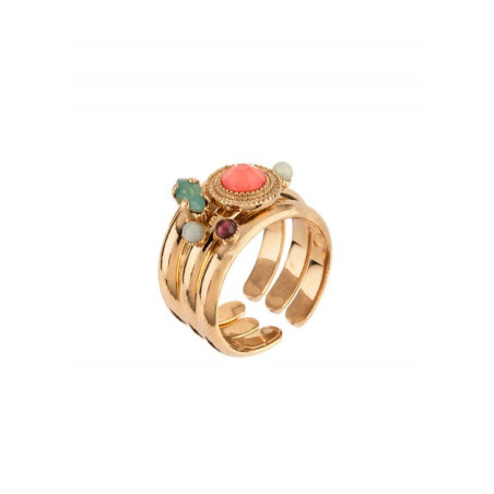 Sophisticated gold plated metal and amazonite set of rings |pink