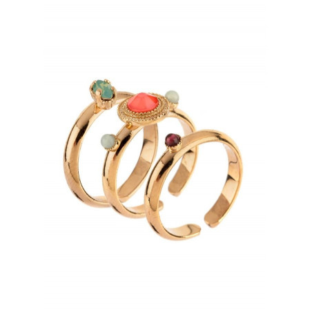 Sophisticated gold plated metal and amazonite set of rings |pink67800