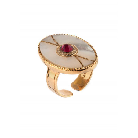 Ethnic gold metal crystal ring | mother-of-pearl