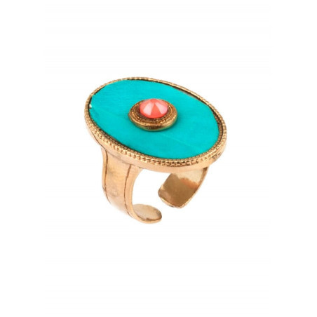 Ethnic gold metal feather crystal ring | turquoise