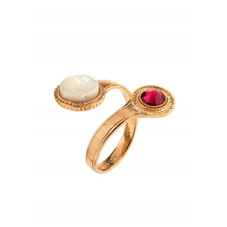 Chic gold metal crystal you and me ring|mother-of-pearl