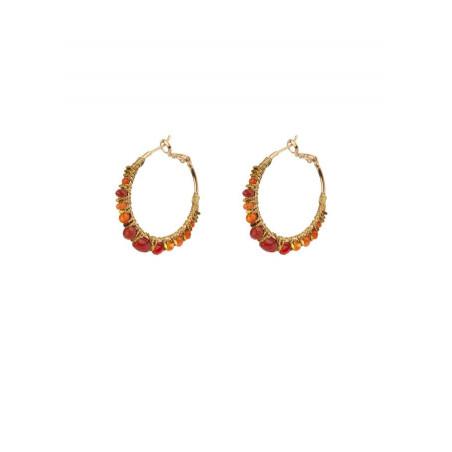 Boucles d'oreilles créoles percées estivales cornaline | Orange