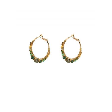 Boucles d'oreilles créoles percées élégantes malachite | Vert