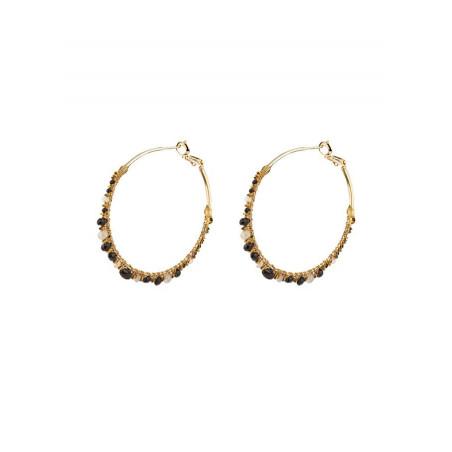 On-trend hoop earrings for pierced ears with onyx|Black