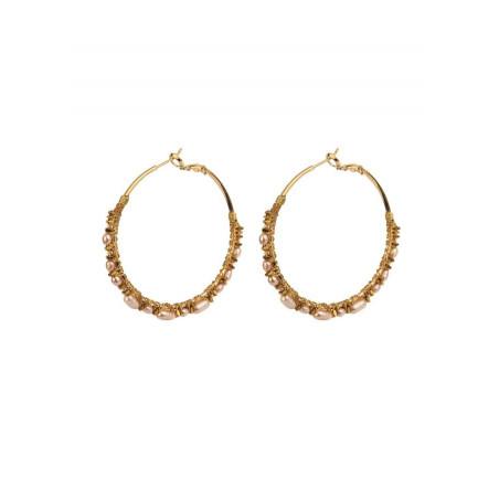 Boucles d'oreilles créoles percées glamour perles | Perle