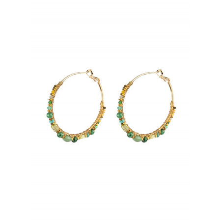 Sublime hoop earrings for pierced ears with turquoise | Multicolor