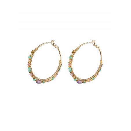 Seductive hoop earrings for pierced ears with beads | Pearl