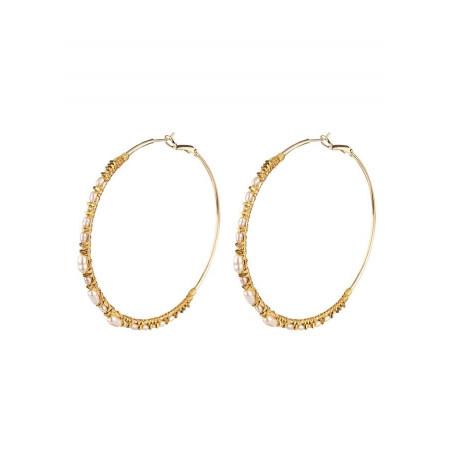 Ethnic amazonite hoop earrings for pierced ears   Multiblue