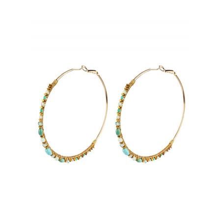 Bohemian amazonite hoop earrings for pierced ears | Multiblue